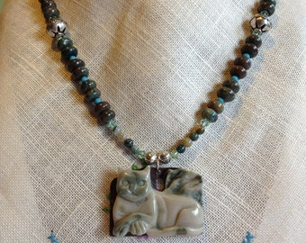 Beautiful Hand Carved Kitty Ribbon Jasper Pendant, Imperial Jasper, Turquoise, Indian Agate, Necklace