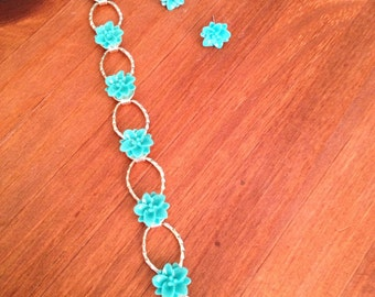 Turquoise green resin flower jewelry set