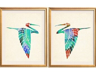 Tropical Bird Art, Seabirds Print, Tropical Wall Art, Tropical Bird Print, Tropical Birds Unframed print set,  Bird Wall Art Set