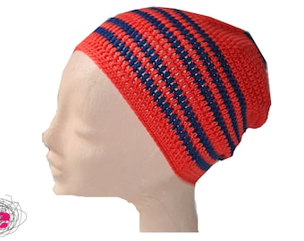 crocheted hat orange with blue stripes