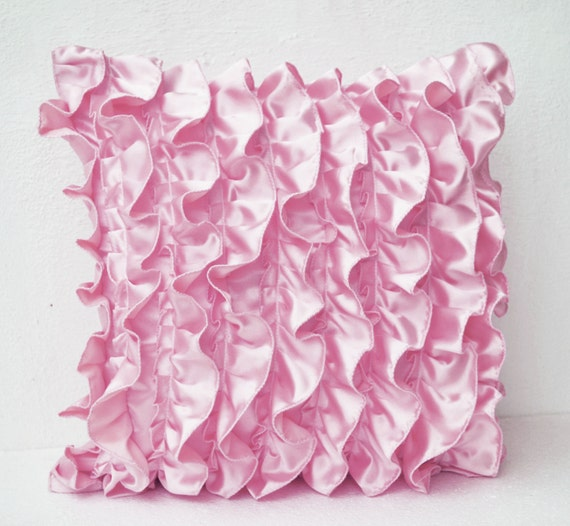 Decorative Pillow Pink : Pink Satin Ruffle Pillow Decorative pillow Ruffle throw