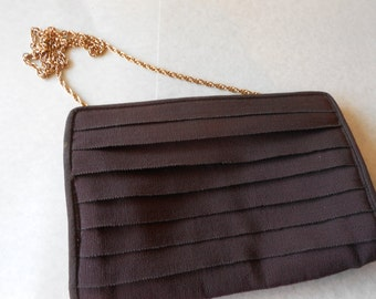 Brown Evening Bag, Made in Italy, Vintage Brown Bag, Magid, Brown Clutch Bag, Brown Handbag, Magid Evening Bag EB-0366