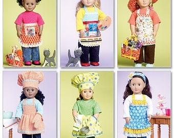 "McCalls 6451 18"" Doll Aprons Pattern, American Doll Apron pattern"