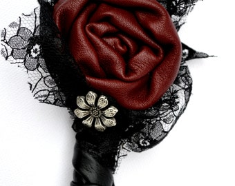 Gothic Leather Wedding Groom Buttonhole Boutonniere