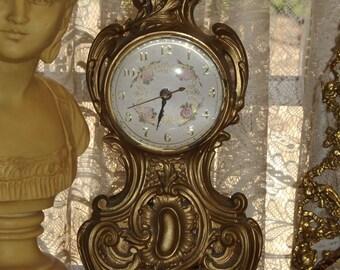 Shabby VINTAGE Rococo Lanshire Flower Mantel Shelf Electric Metal Clock