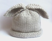 Newborn knitted baby hat bunny rabbit - linen oatmeal colour - winter spring easter - vegan - hand knitted - photo prop - unisex baby gift