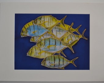 Art Print, Archival Matted 12 x 16, School of Jack Fish, Silk Painting, Wall Art, Giclee Print
