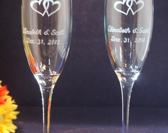 2 Personalized Wedding Champagne Flutes withEengraved Hearts,  Free Personalization