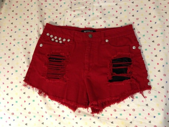 Red Ripped Shorts