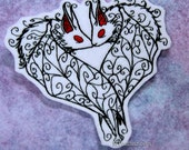 Kissing Gothic Vampire Bats Iron On Embroidery Patch MTCoffinz