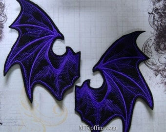 Purple Demon Devil Wings Iron On Embroidery Patch MTCoffinz - Pair