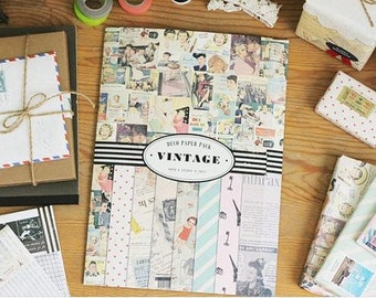 Vintage Deco Paper and Sticker Pack - 14 Sheets