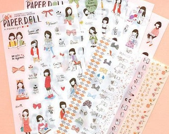 Paper Doll Stickers  - 6 Sheets