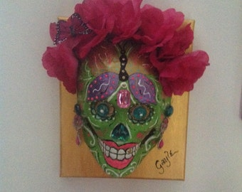 Day of the Dead Paper Mache Mask on Canvas