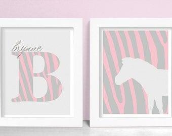 Animal Print Baby Girl Nursery Art Monogram Print SET - Monogram Zebra Animal Print 8x10 Nursery or Kids Wall Art - Pink & Gray Shown