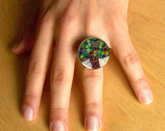 free shipping, Mosaic tree ring, adjustable ring,round stained glass jewelry