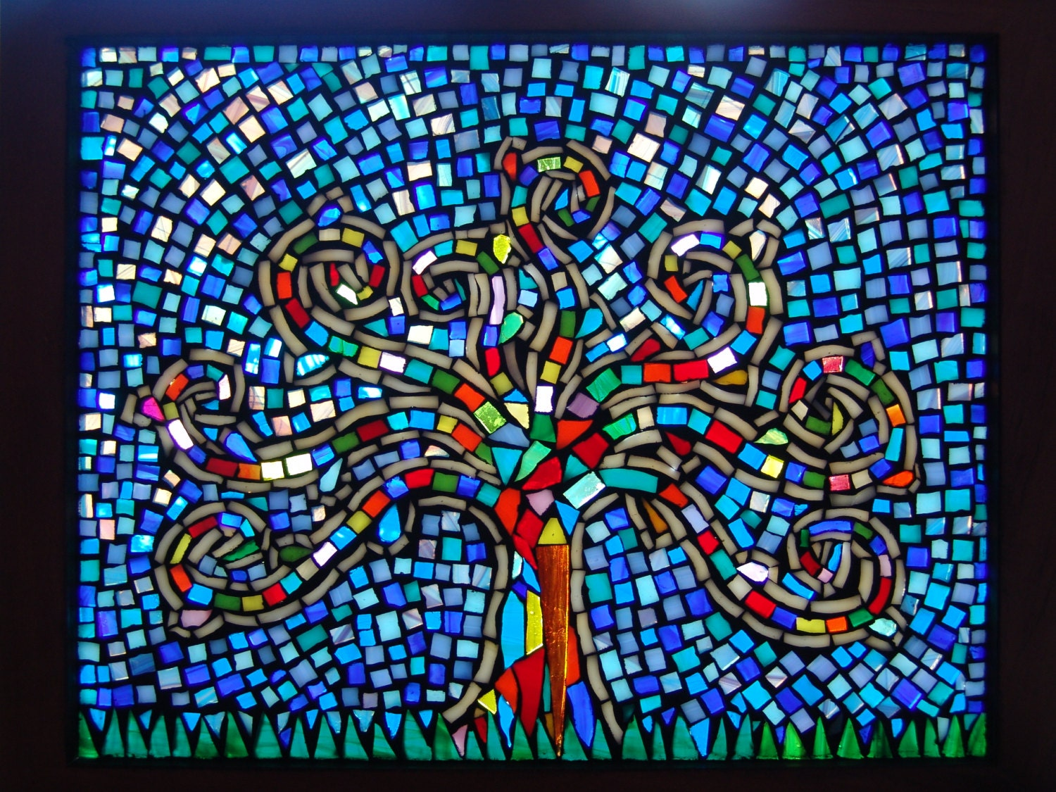Window panel colorful mosaic home decor for Mosaic home decor