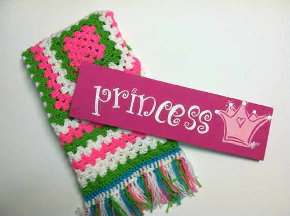 Hot Pink Princess sign and Granny Square afghan