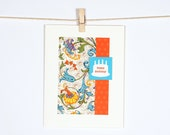 Birthday Cake Bright Colors Turquoise Floral Orange Polka Dots Happy Birthday Notecard
