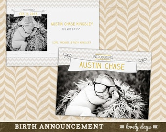 Birth Announcement Template for photographers PSD Baby Announcement INSTANT DOWNLOAD