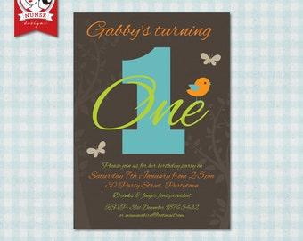 Cute kids bird invitation - Custom, Printable
