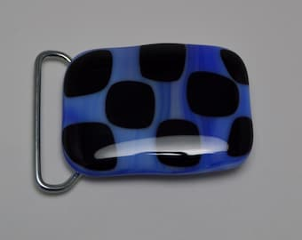 Blue and Black Checkered belt buckle.