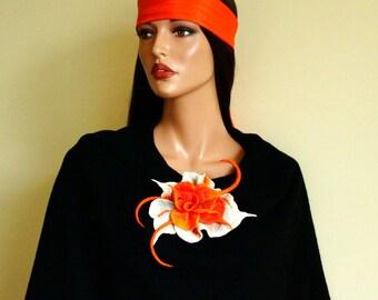 Orange felted brooch Light gray orange felt Fancy flower felt brooch Orange brooch Grey orange broach