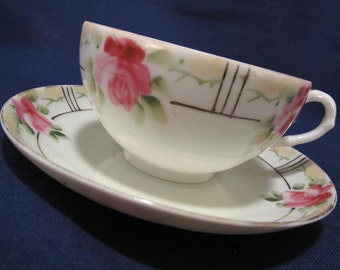 Hand Painted Nippon Teacup & Saucer with Pink Roses