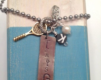 TENNIS GIRL stamped necklace