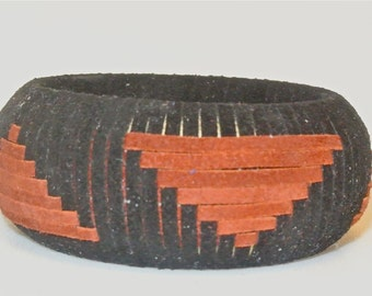 Suede Bangle Woven in a Spaced Triangle Pattern