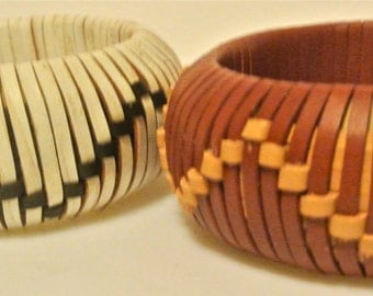Leather Bangle Woven in a Wave Pattern