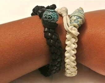 Handwoven Leather Wrap Bracelet- Black, Brown, Pink, Red, & White