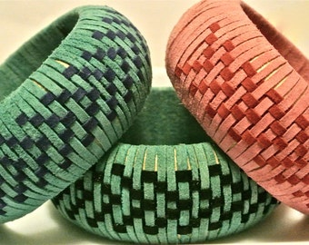 Suede Bangle Woven in a Chevron Pattern