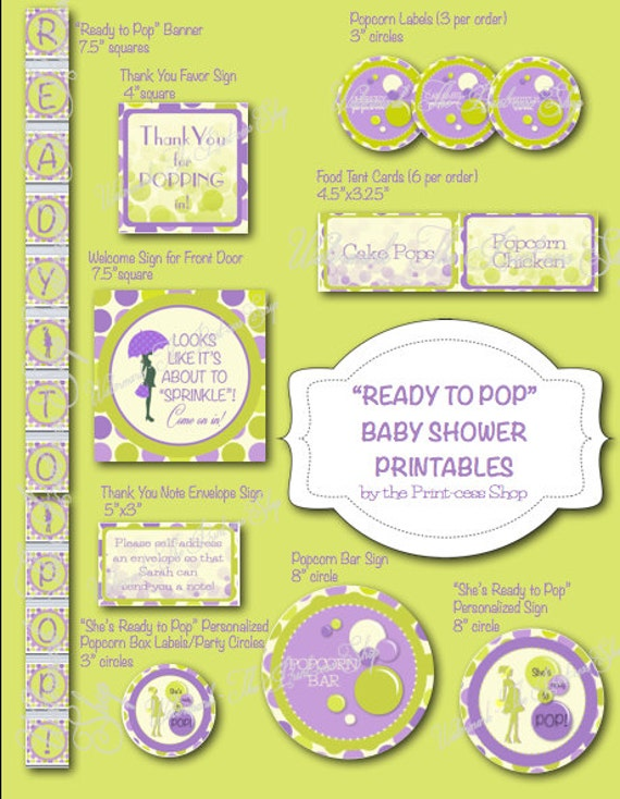 purple and green baby shower decorations. Items similar to Ready Pop Green and Purple Baby Shower Printable  Decoration Pack Personalized Custom in PDF Format on Etsy