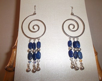 Lapis and Sterling Silver Chandelier Earrings