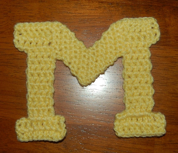 "Crochet Pattern: Book Antiqua ""M"" Applique, University of Michigan Inspired ""M"""