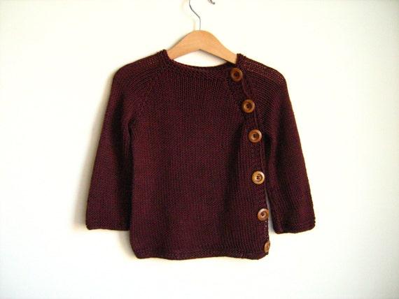 Knitted baby sweater.  Claret yarn. Burgundy baby sweater. Baby gift