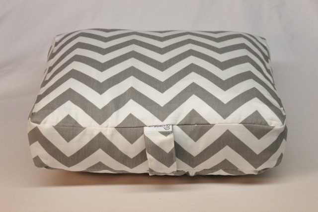 Large Floor Pillow Inserts : 22x22x4 Pouf Cushion Floor Pillow Grey White Chevron by Henhat