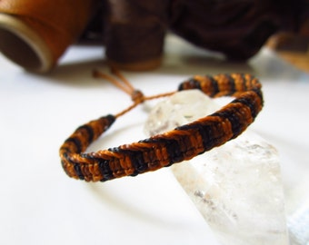 Brown & Black Friendship Surf Bracelet Macrame Handmade