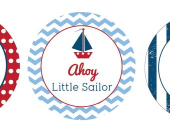 """Nautical - 2"""" Circles - Cupcake toppers/Tags (instant download)"""