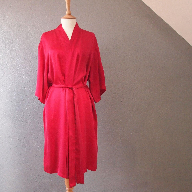 100% Silk Womens Short Red Robe/wrap with Kimono |Red Silk Robe