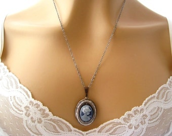 Victorian Cameo Locket Necklace: Victorian Woman Dark Blue Cameo Necklace, Small Silver Locket Necklace, Cameo Locket Victorian Jewelry