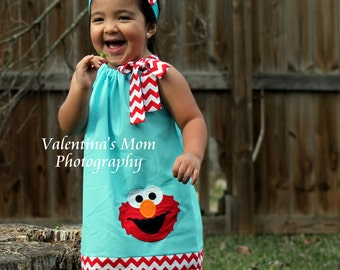 New and adorable blue and red chevron with Elmo in pillowcase dress