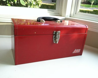 Red Metal Tool Box - Chippy Rusty Steampunk