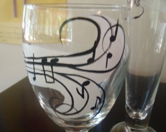Hand Painted, personalized Wine Glasses (with personalized secret message inside)
