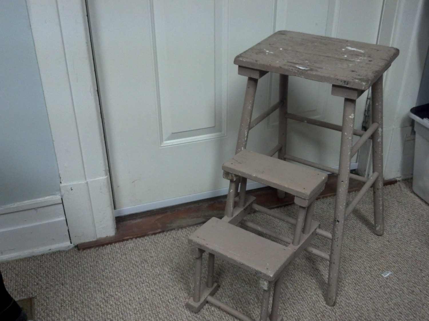 Vintage Wooden Folding Step Stool