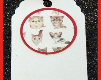 cat gift tag, cat birthday tags, cat party tags, kitty gift tags, set of 10