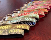 Personalized Embroidered Military Key Chain Wristlet
