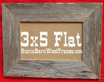 Unfinished rustic barn wood aged weathered primitive barnwood photo picture frame 3 x 5 Flat