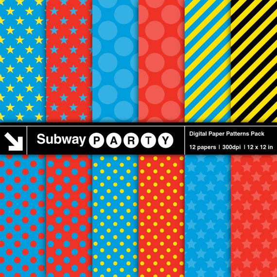Train Superhero Party Digital Papers Blue Red Stars